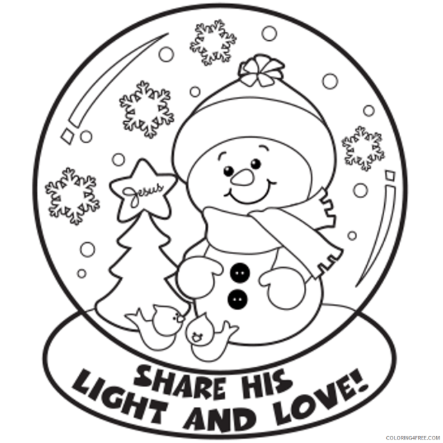winter coloring pages snowman in snow globe Coloring23free