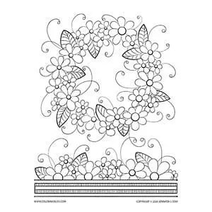 Floral Wreath Coloring Page