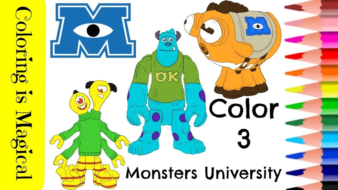 Color 3 Monsters University Characters coloring Page Disney Pixar ...