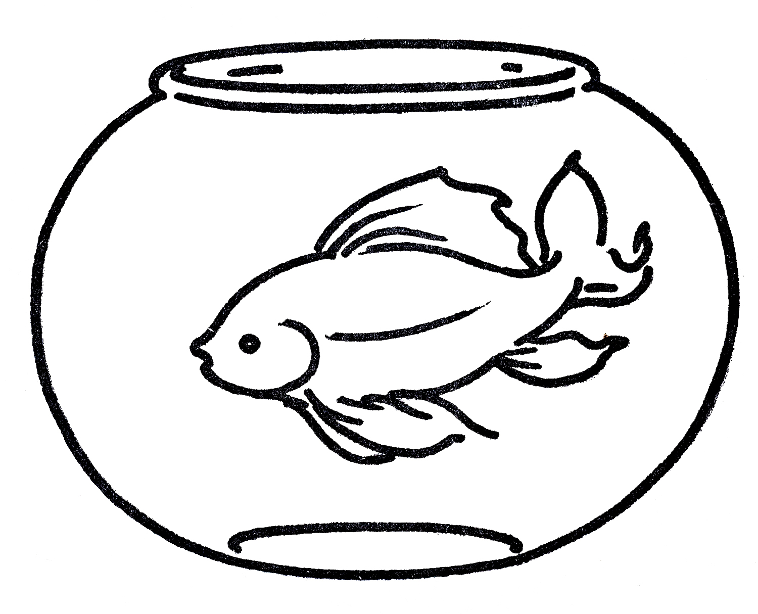 goldfish bowl colouring pages