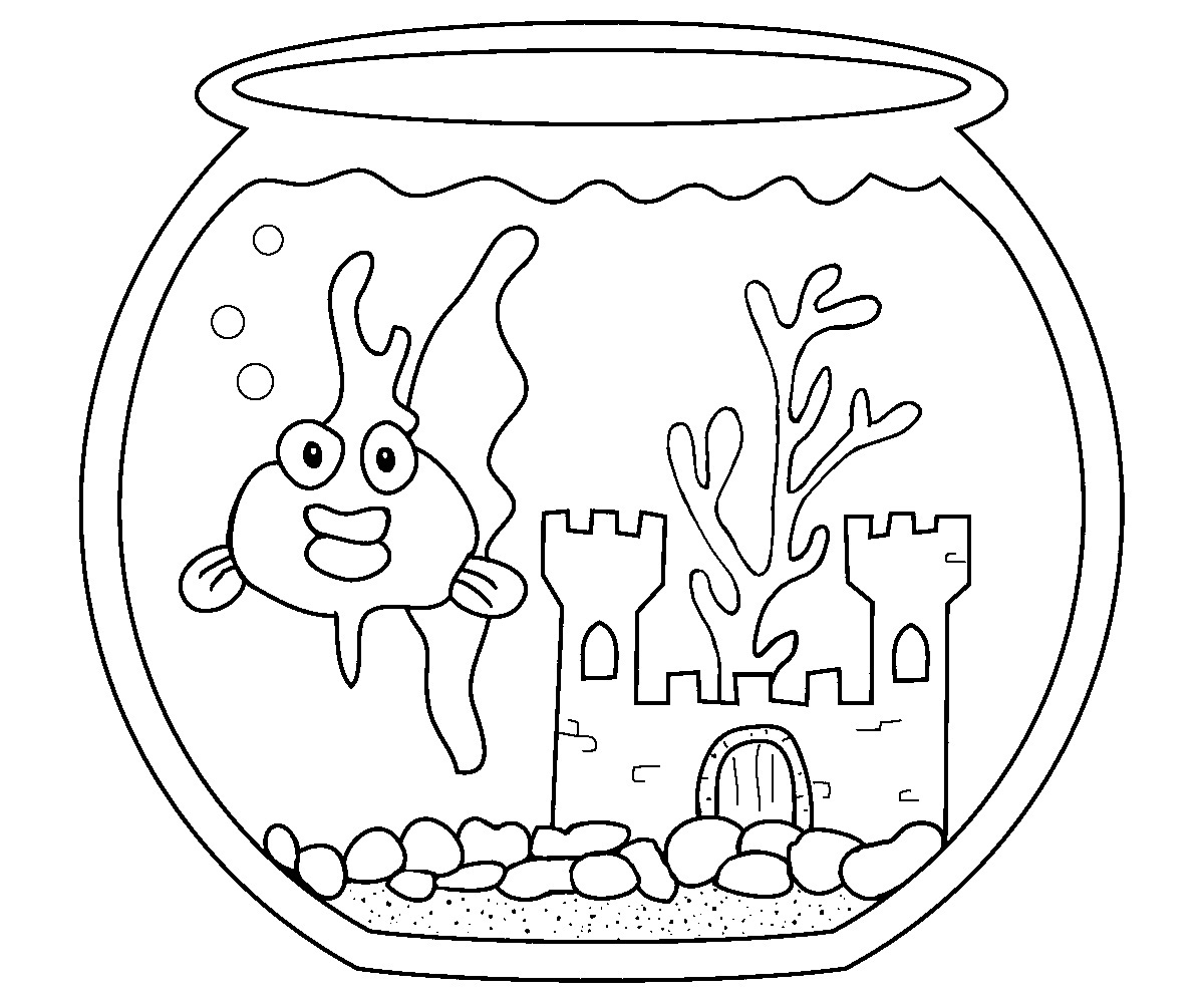 fish bowl coloring pages goldfish coloring pages for kids