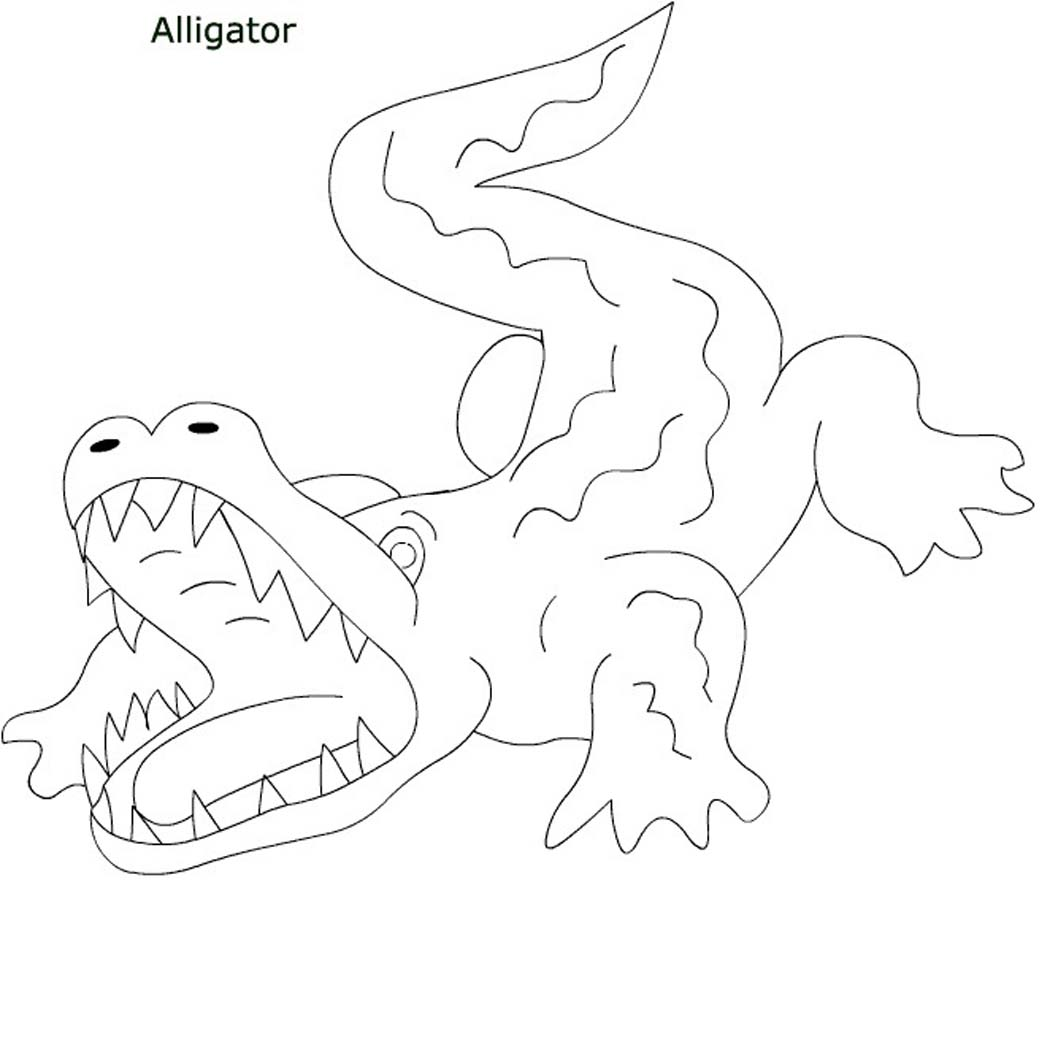collection of alligator coloring sheets