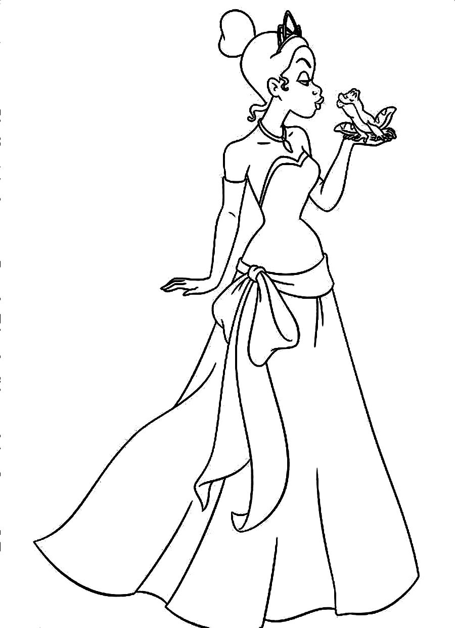 Free For Kids Disney Princess Tiana Coloring Pages Az Coloring