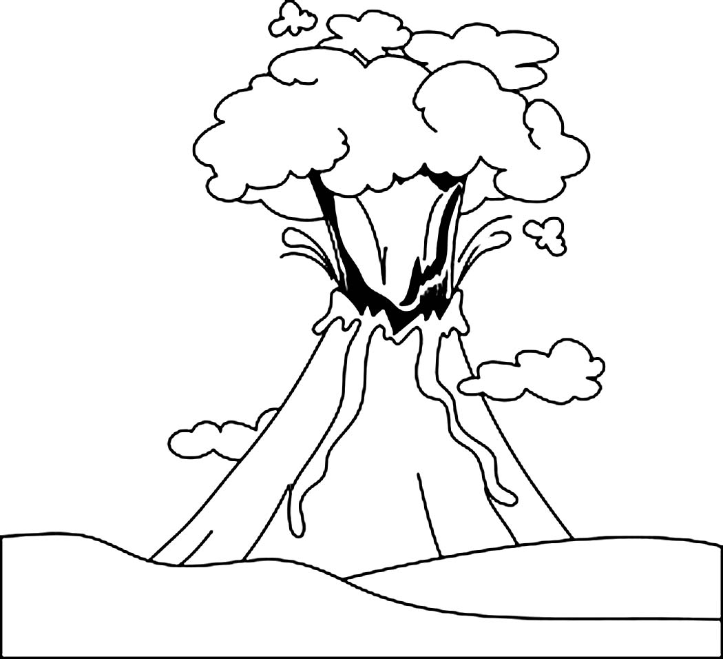 Volcano Clipart Black And White