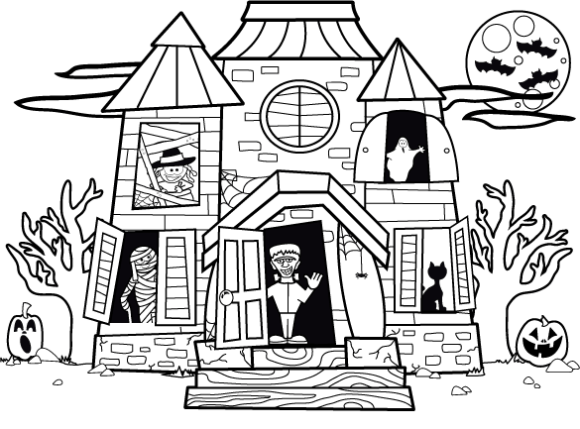 Printable Haunted House Coloring Pages Coloringme Com