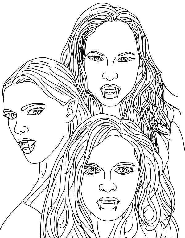 female vampire pages coloring pages