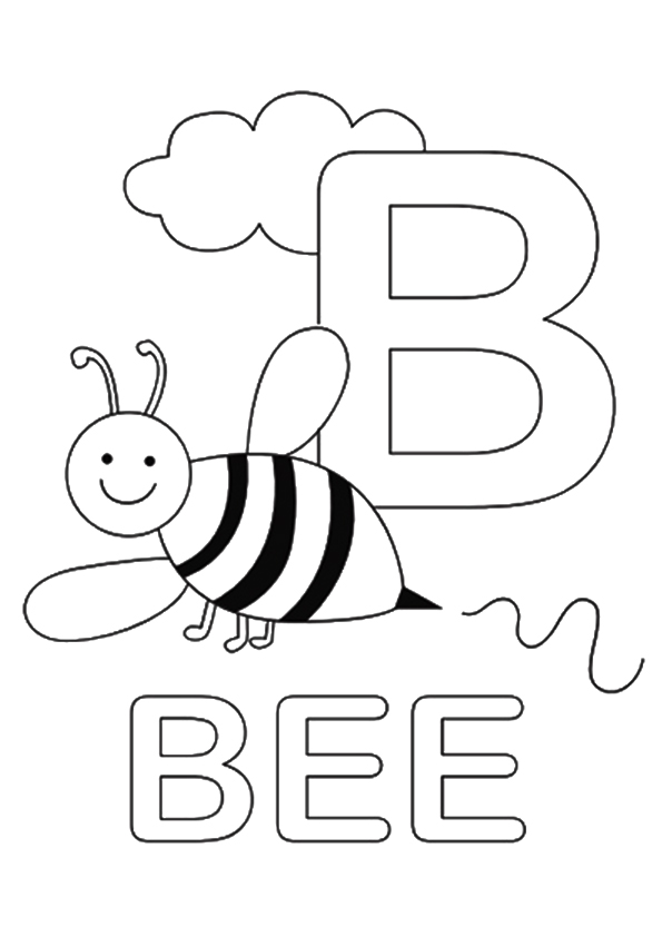 bumble bee letter b coloring page  free printable
