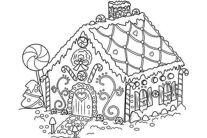 Gingerbread House Coloring Page Free Printable Coloring