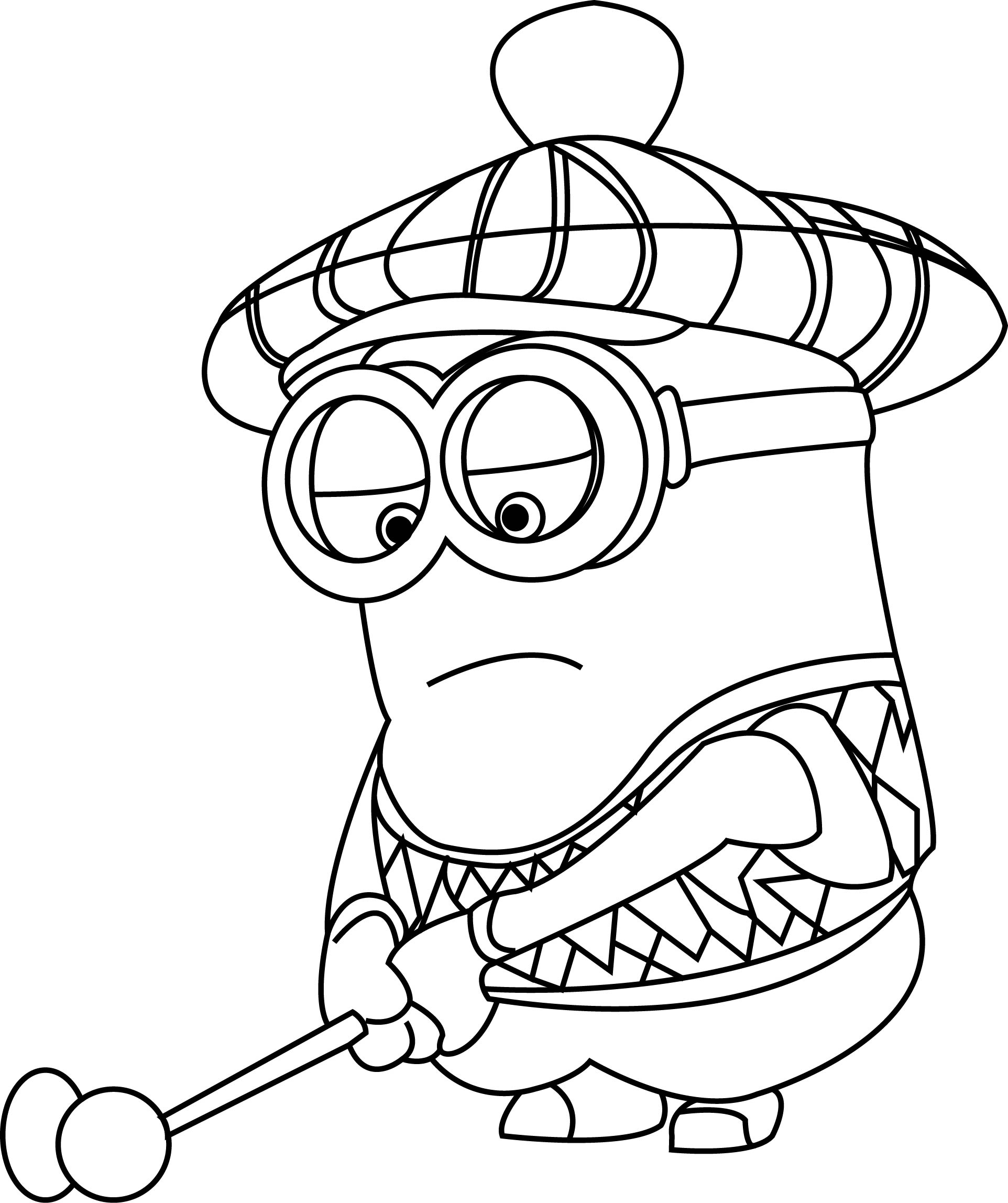 Minion Kevin Playing Golf Coloring Page