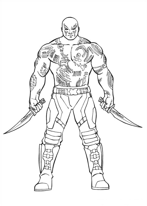 Drax The Destroyer Coloring Page Free Printable Coloring
