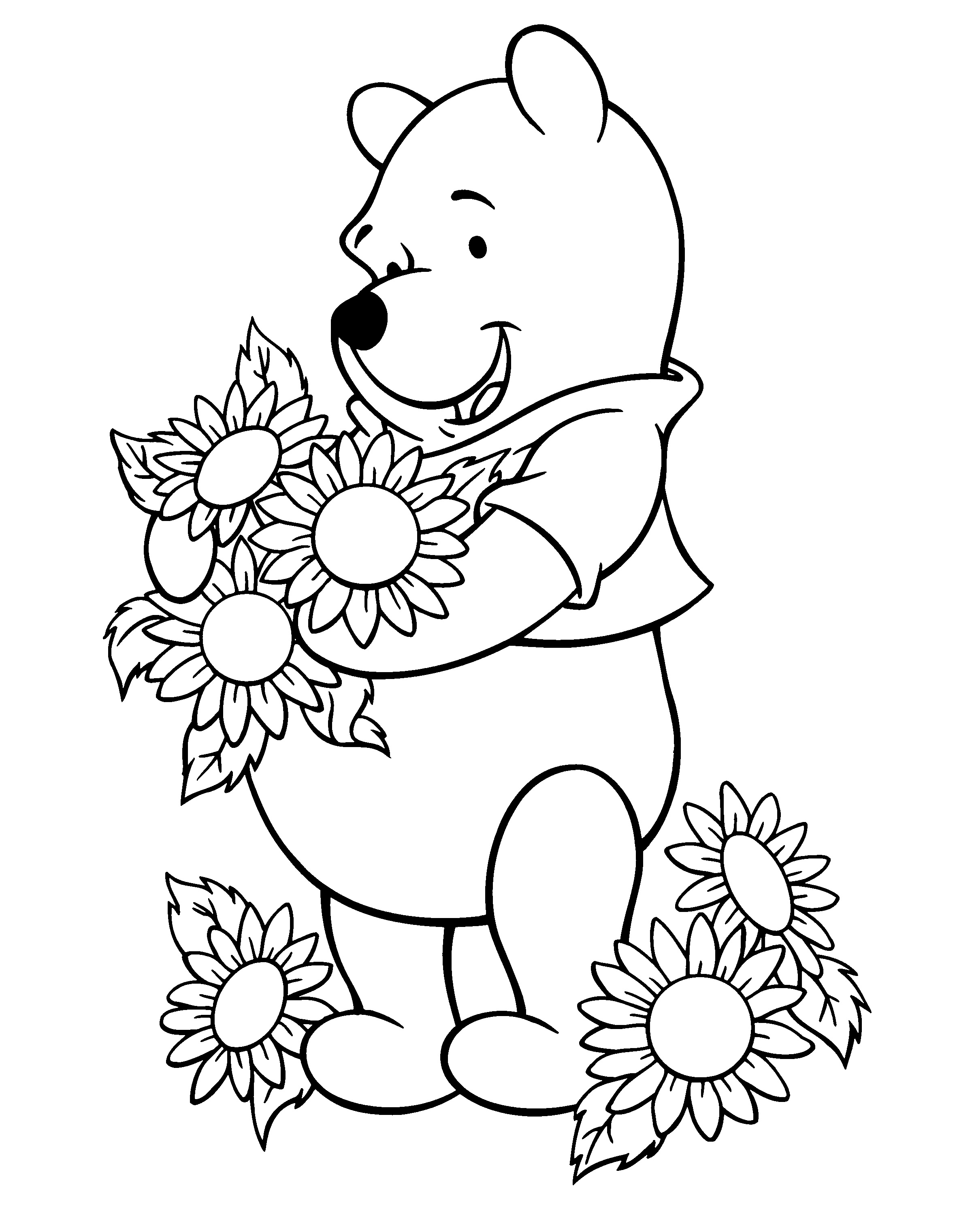 Pooh And Sunflowers Coloring Page