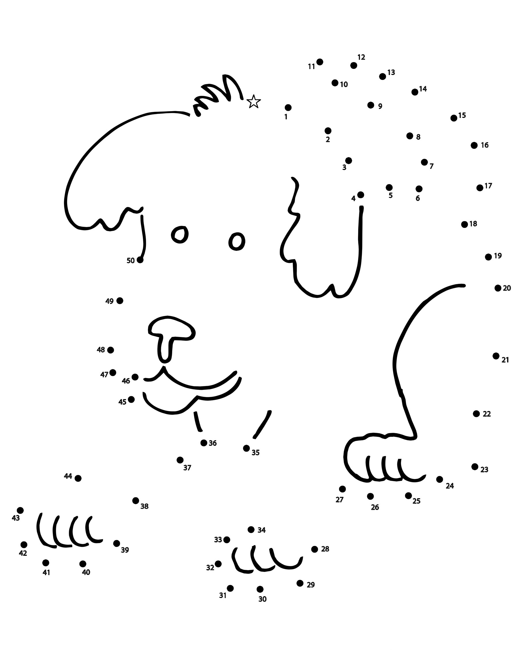 Puppy Dot To Dots Coloring Page