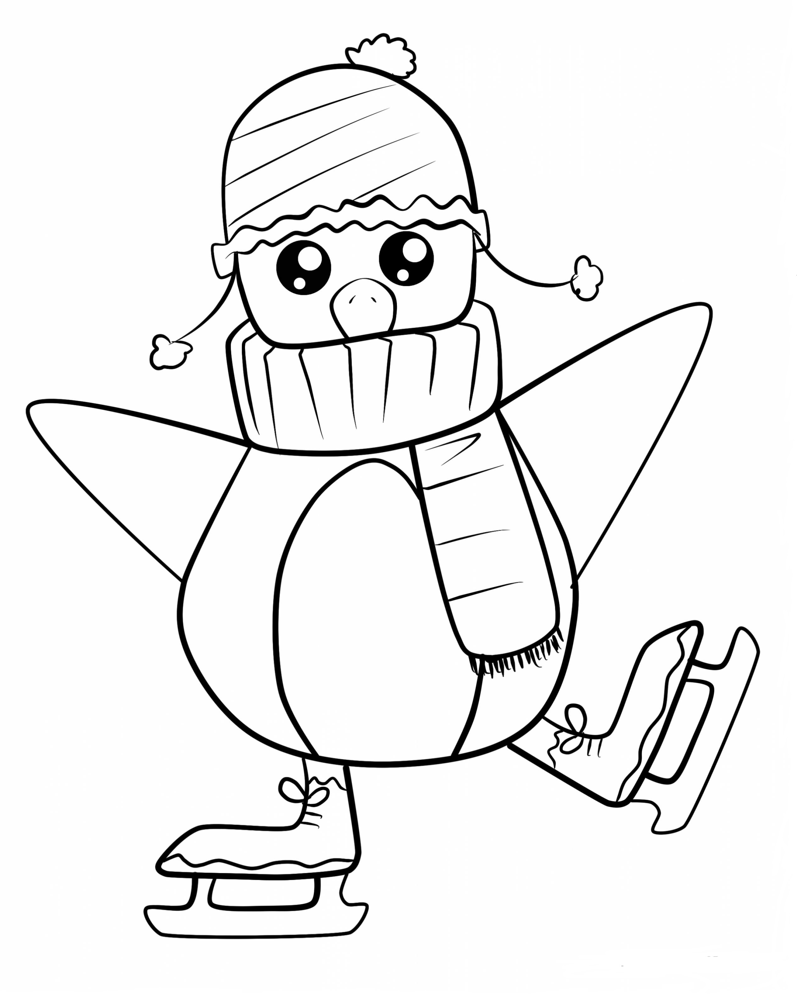 Penguin Ice Skating Coloring Page