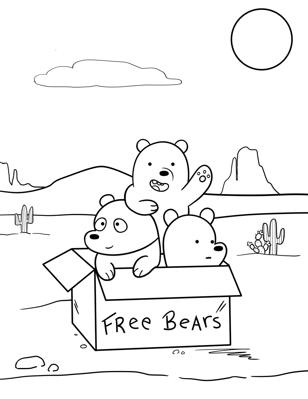 Baby Cute Brother Bears Coloring Page