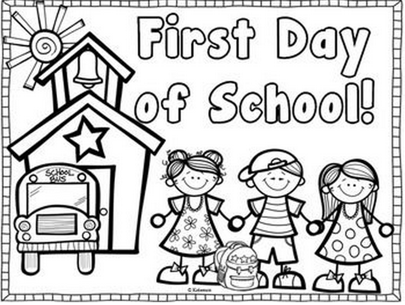 First Day Of School Coloring Page Amp Book For Kids
