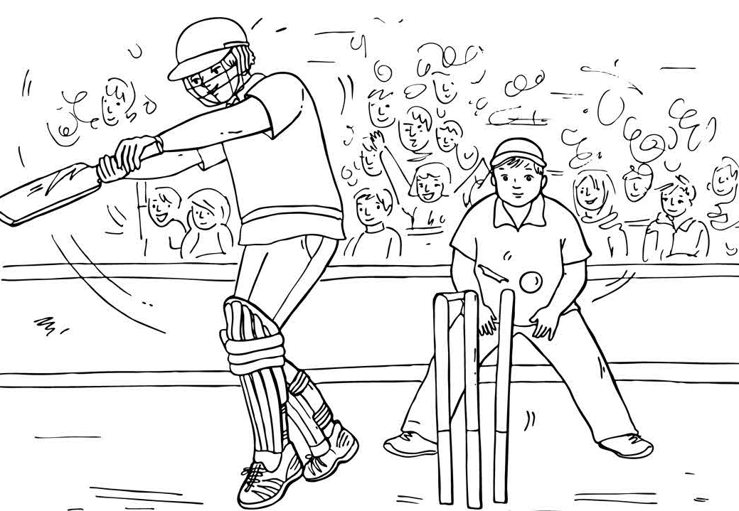 cricket match coloring page amp coloring book