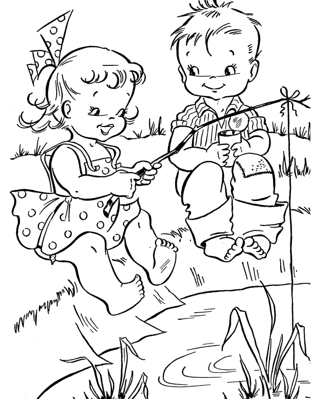 summertime fun colouring pages