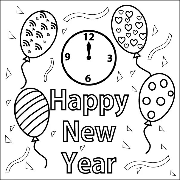 Happy New Year Coloring Page. happy new year coloring page ...