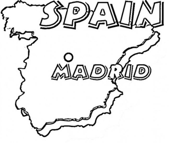 spain map coloring page & coloring book
