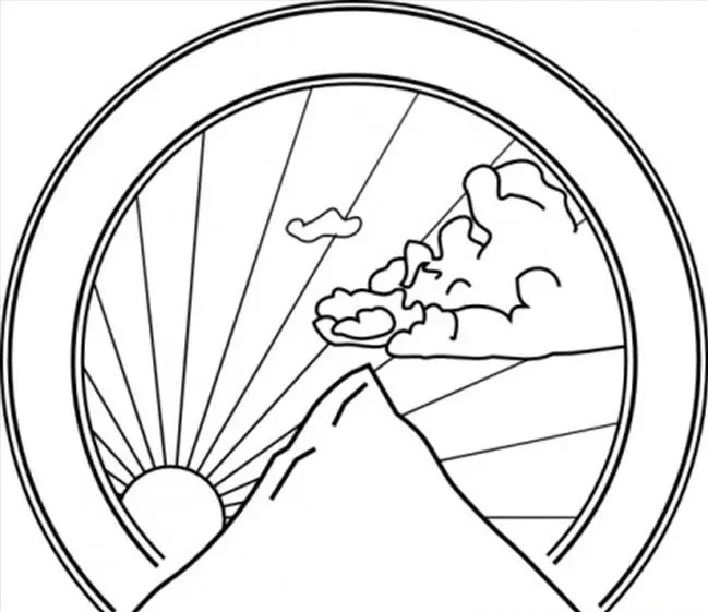 mountain sunshine coloring page amp coloring book