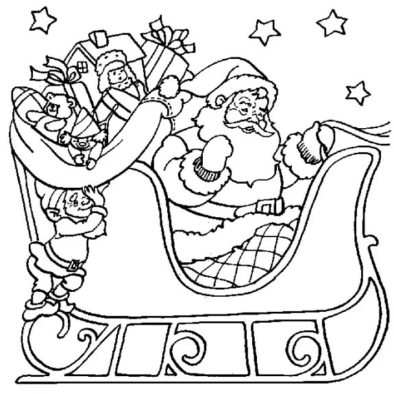 santa sleigh coloring page # 2