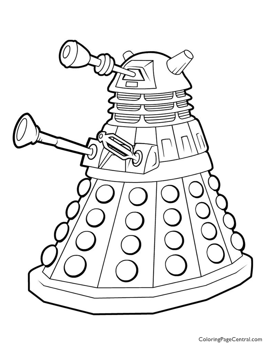 Doctor Who Dalek Coloring Page Coloring Page Central