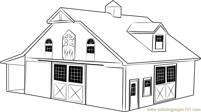 Red barn coloring pages