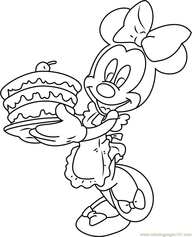 Minnie Mouse with Birthday Cake Coloring Page for Kids - Free