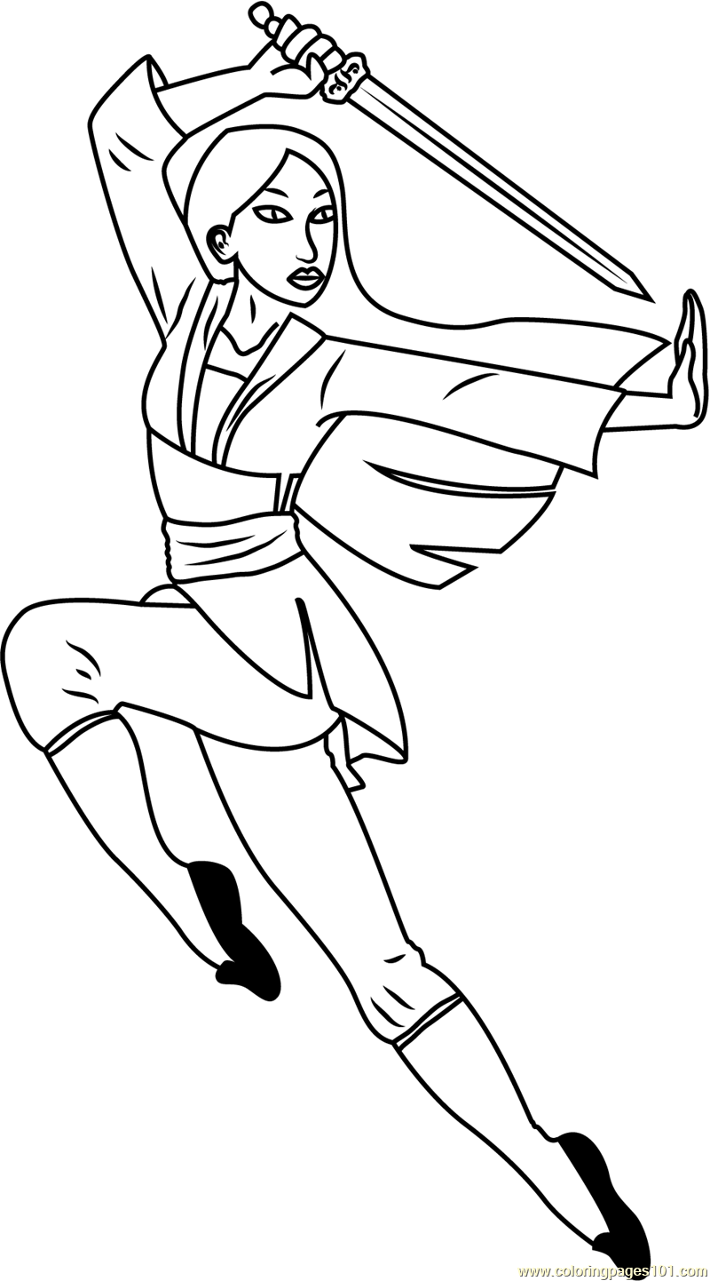 Mulan With Sword Coloring Page Free Mulan Coloring Pages