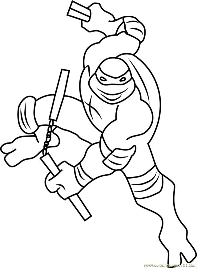 Michelangelo Coloring Page for Kids - Free Teenage Mutant Ninja