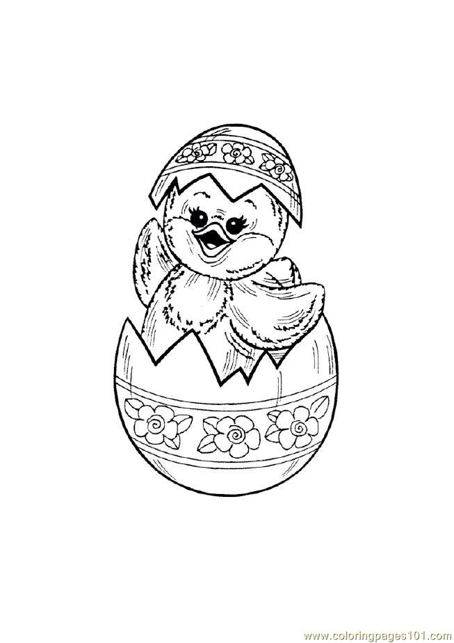 Easter Chicks In Happy Mood Coloring Page Free Easter