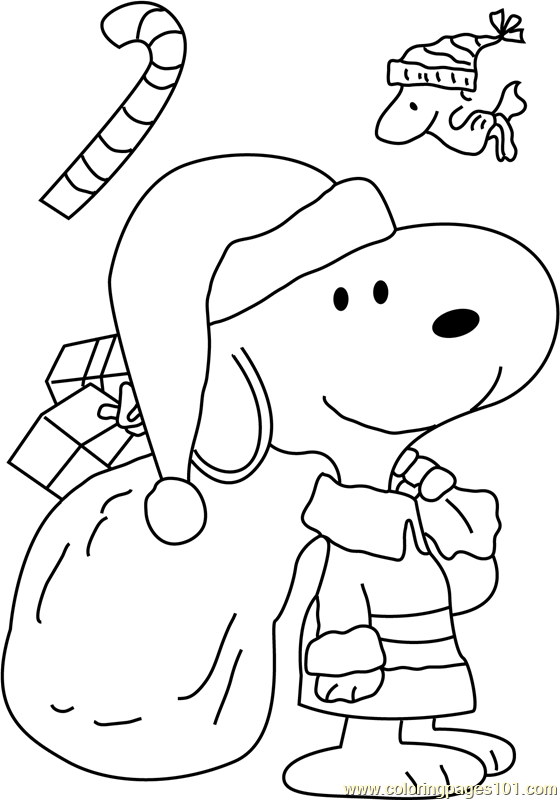 Snoopy Dressed As Santa Coloring Page Free Christmas