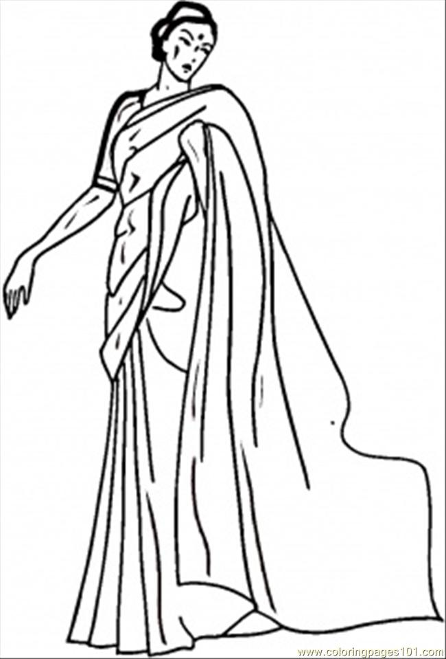 Indian Woman Coloring Page Free India Coloring Pages