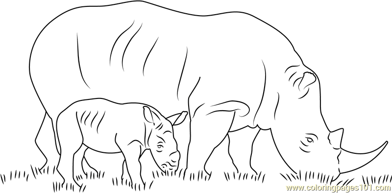 rhino with her baby coloring page free rhinoceros coloring pages