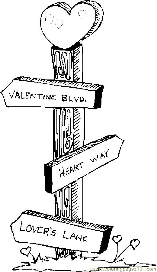 Sign Post Coloring Page Free Valentines Day Coloring