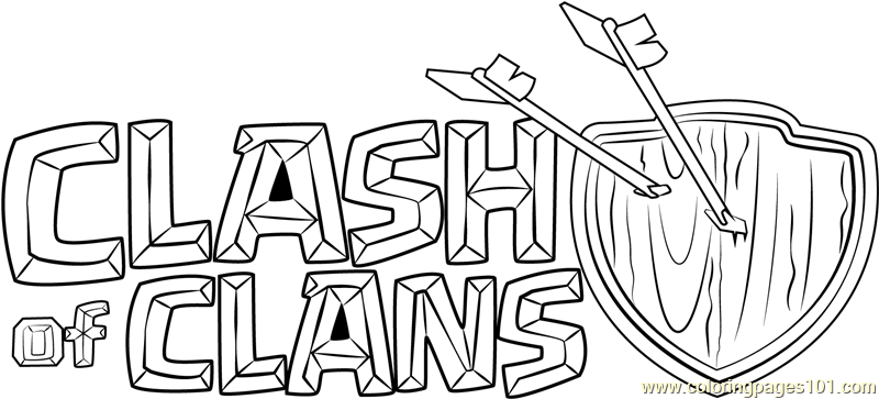 clash of clans logo coloring page  free clash of the
