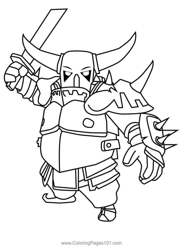 Pekka Clash of Clans Coloring Page for Kids - Free Clash of the