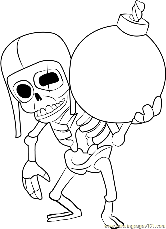 wall breaker coloring page  free clash of the clans