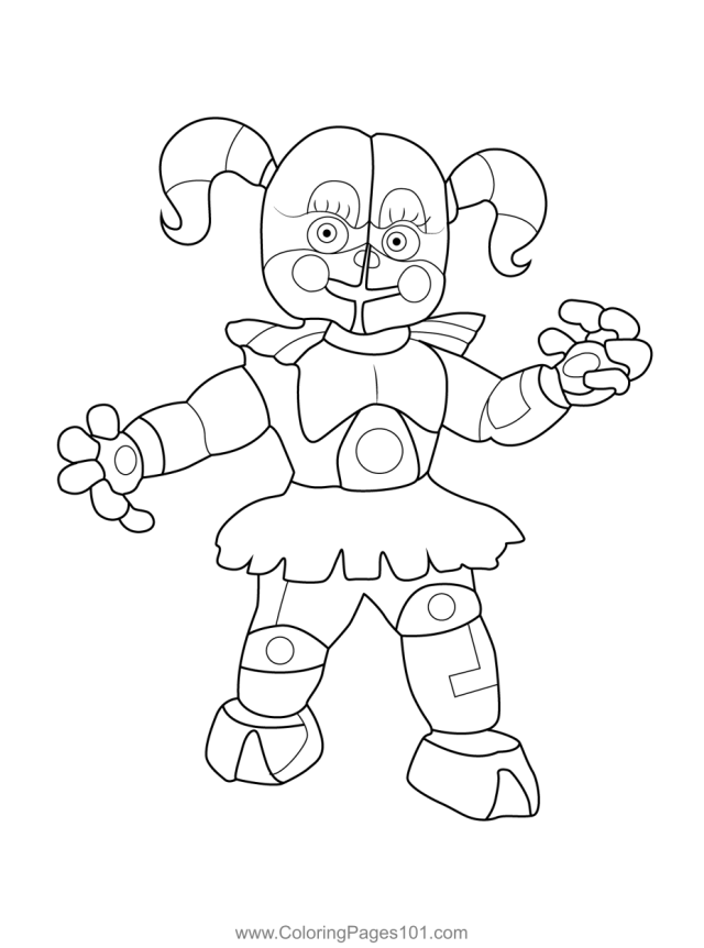 Circus Baby FNAF Coloring Page for Kids - Free Five Nights at