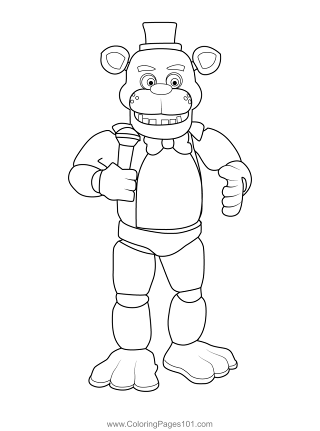 Freddy Fazbear FNAF Coloring Page for Kids - Free Five Nights at