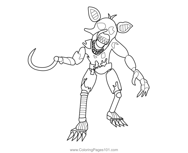 Grimm Foxy FNAF Coloring Page for Kids - Free Five Nights at