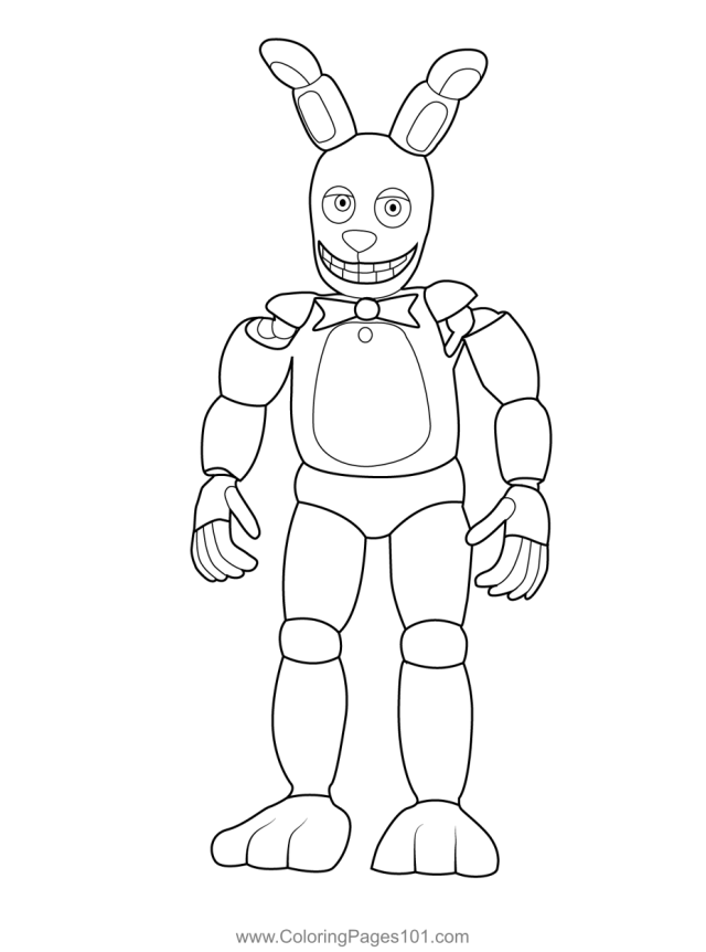 Spring Bonnie FNAF Coloring Page for Kids - Free Five Nights at