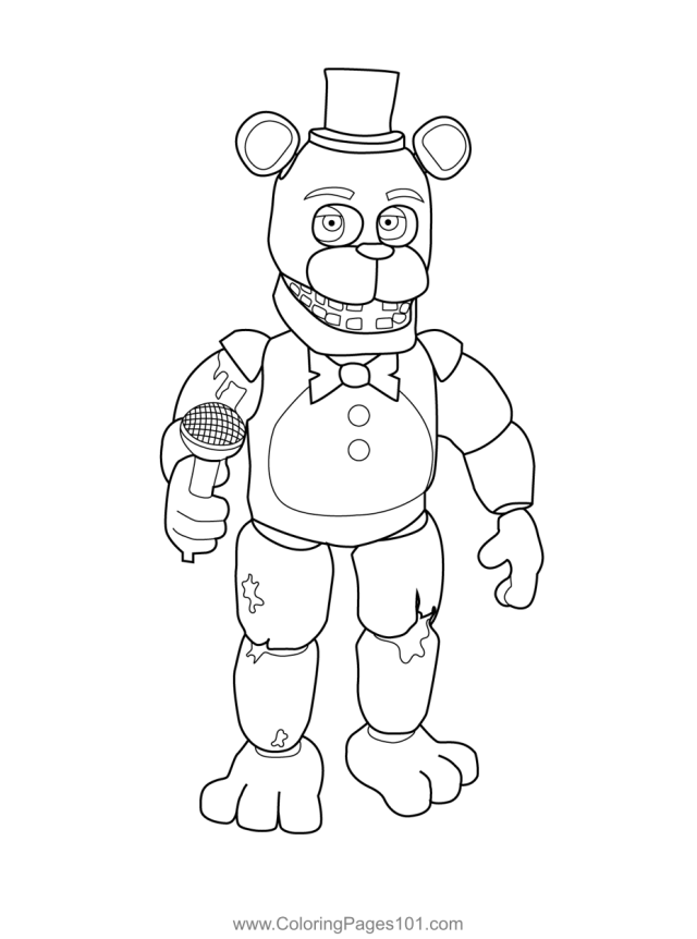 Withered Freddy FNAF Coloring Page for Kids - Free Five Nights at