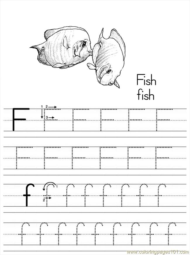 free printable page alphabet abc letter f fish
