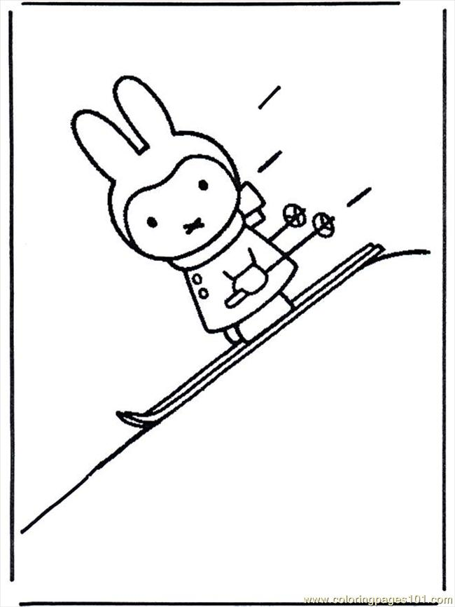 Miffy Sugli Sci B617 Coloring Page Free Miffy Coloring