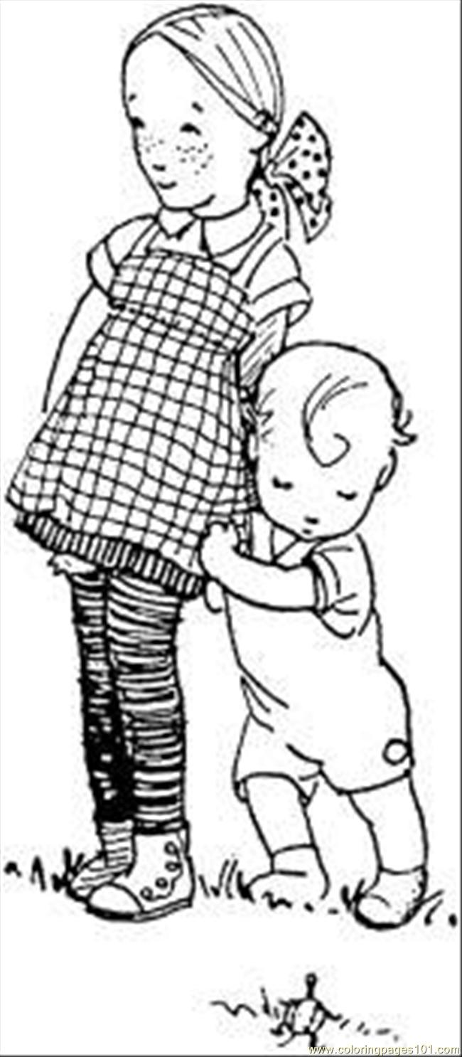 sister and little brother coloring page free relationship