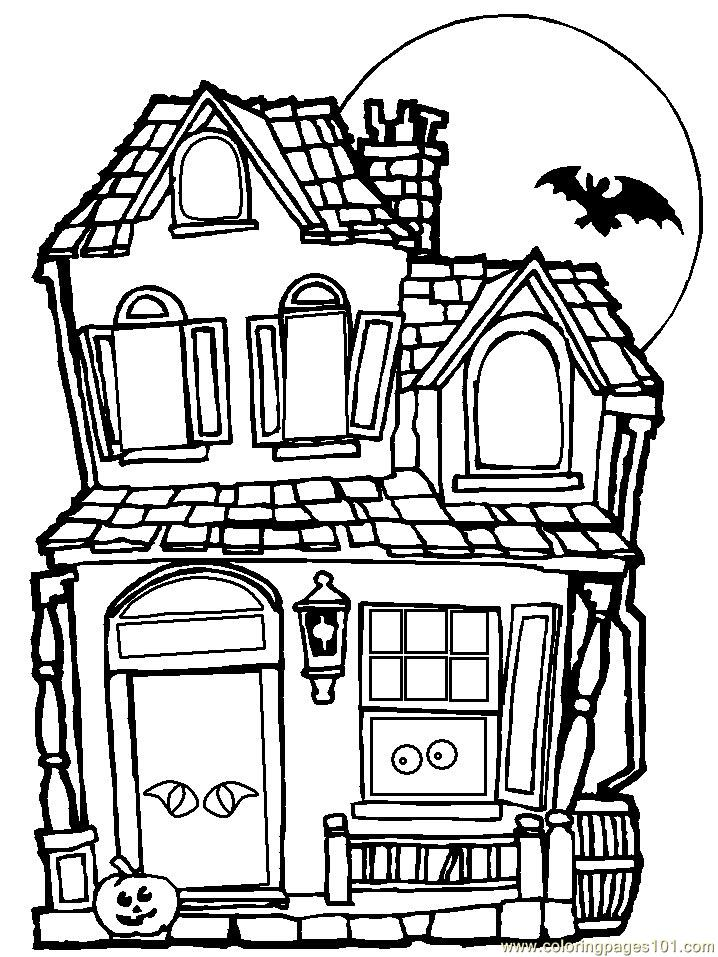 Haunted House Coloring Page Free Houses Coloring Pages Coloringpages101 Com