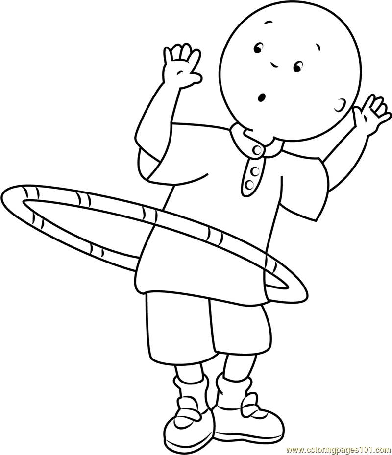 Caillou Playing With Ring Coloring Page Free Caillou