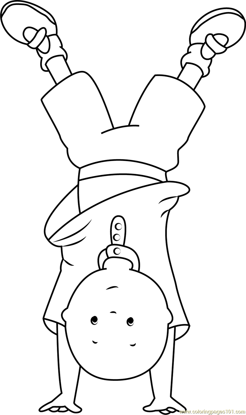 Caillou Standing On Hands Coloring Page Free Caillou Coloring