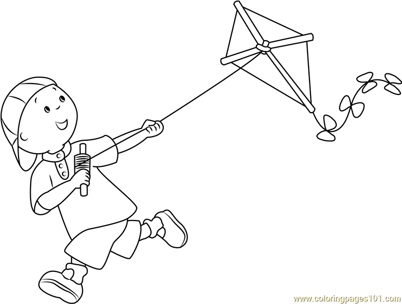 Caillou With Kite Coloring Page Free Caillou Coloring Pages Coloringpages101 Com